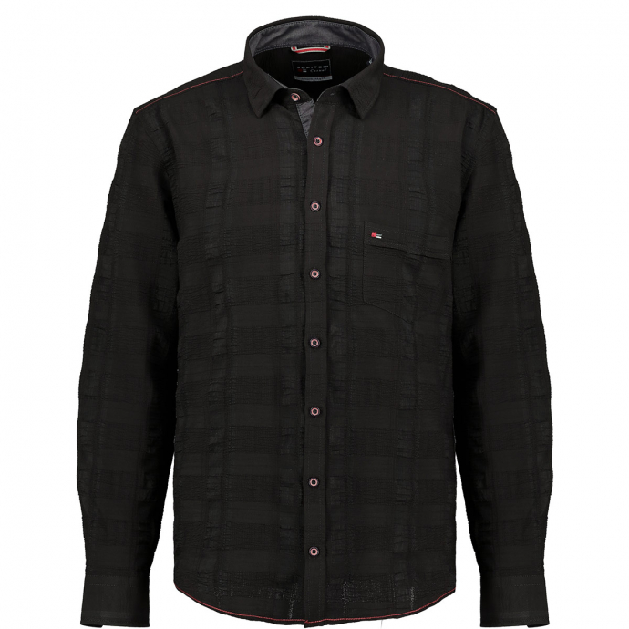 Bequemes Seersuckerhemd mit langem Arm und Stretchanteil schwarz_001 | 3XL