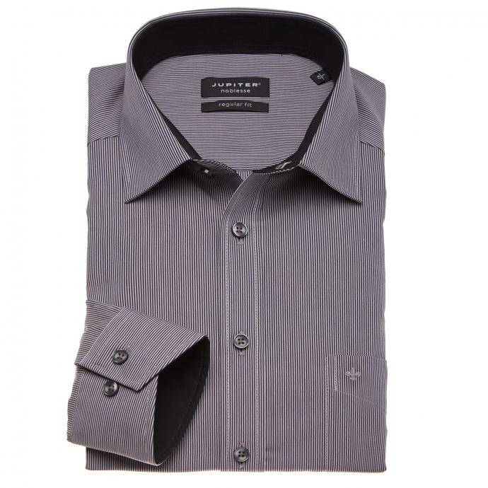 Fein gestreiftes Businesshemd mit langem Arm anthrazit_267 | 3XL