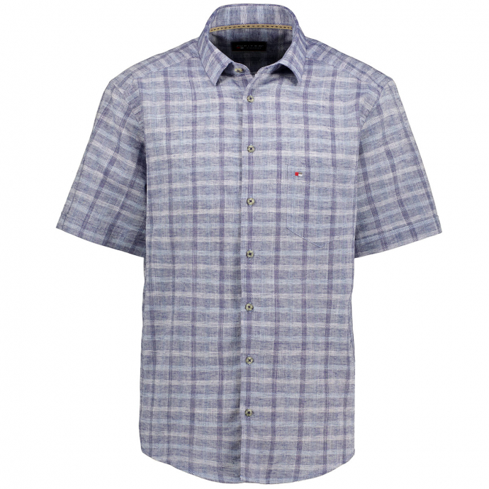 Freizeithemd mit garngefärbtem Karomuster, kurzarm, Regular Fit blau/dunkelblau_157/4040 | XXL