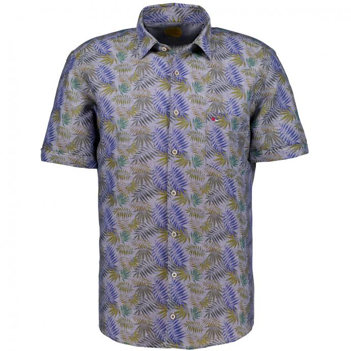 Freizeithemd im Leinenmix mit Blattmuster, kurzarm, Short Style blau/grün_173/4060 | XXL