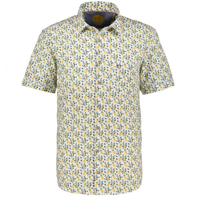 Sommerliches Freizeithemd im Tropical-Stil, kurzarm, Short Style grün/weiß_575 | XXL