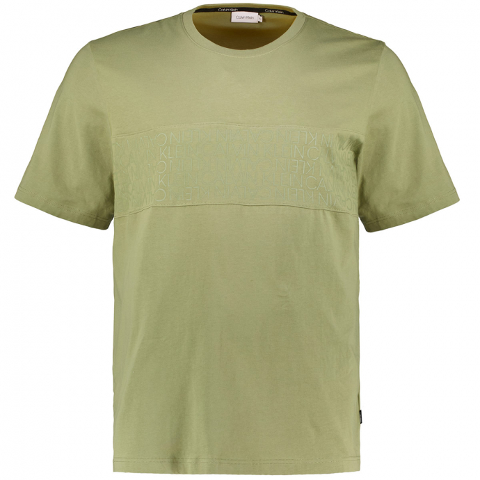 T-Shirt aus Biobaumwolle mit Logo-Einsatz oliv_MSS | 3XL
