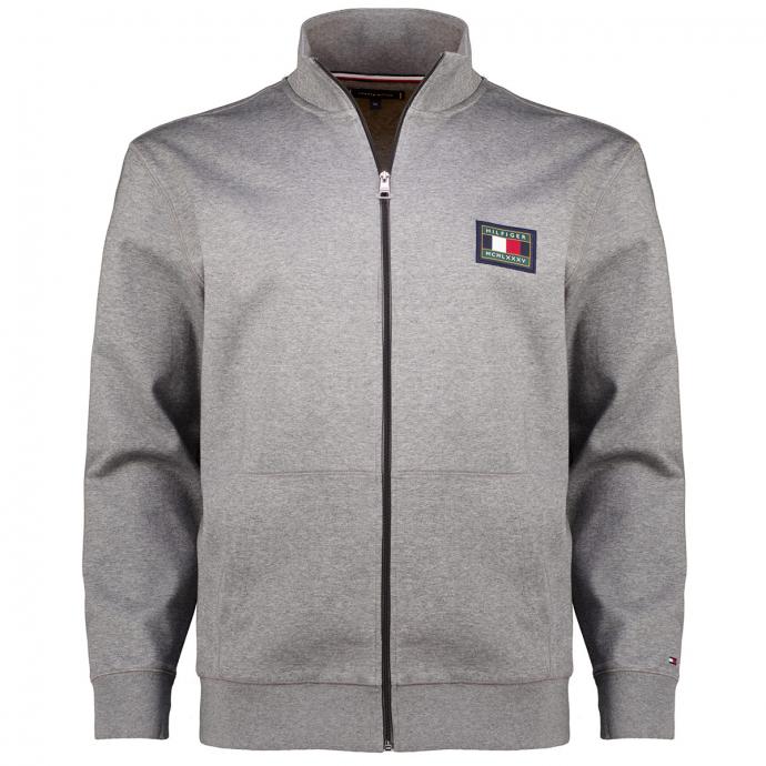 Edle Reißverschluss-Sweatjacke aus Baumwoll-Mix mit Stehkragen und Känguru-Taschen grau_PGU | 3XL