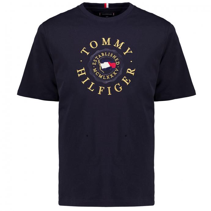 T-Shirt mit edler Hilfiger Stickerei marine_DW5 | 3XL