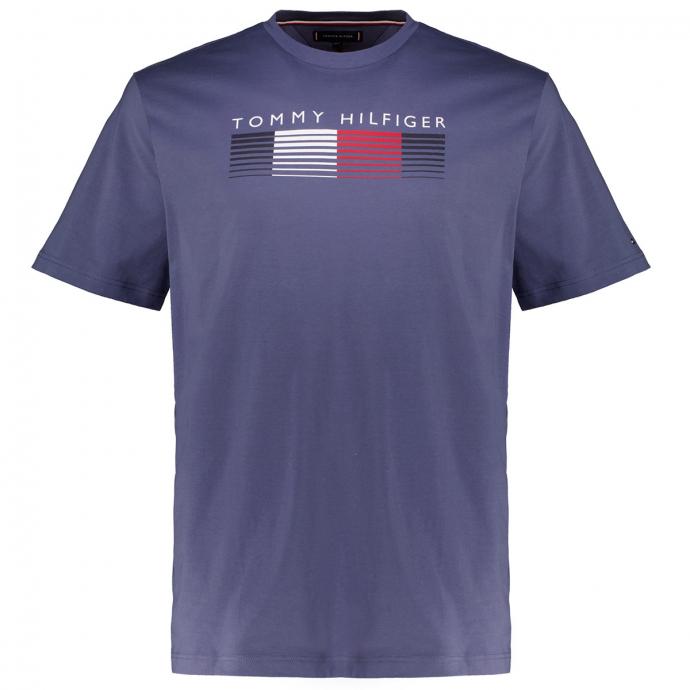 Premium T-Shirt aus Biobaumwolle mit HILFIGER Print jeansblau_C9T | 3XL