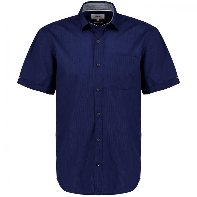 Strukturierte Baumwollhemd, kurzarm blau_5693 | 3XL