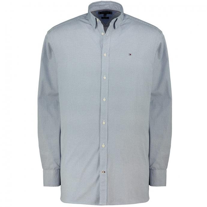 Baumwollhemd  dezent gemustert, langarm blau_0GY | 5XL