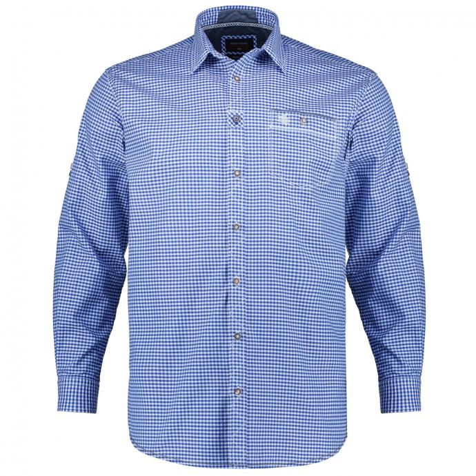 Kariertes Hemd im Trachtenstil, langarm blau/weiß_91/4020   3XL
