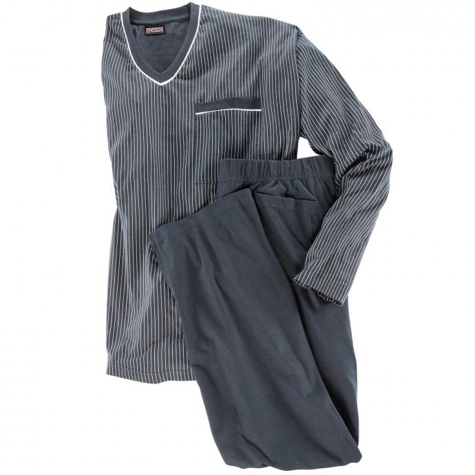 Langer Schlafanzug dunkelblau_360 | 4XL