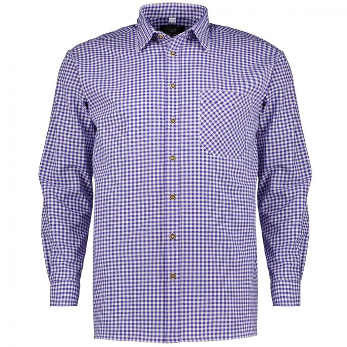 Kariertes Hemd im Trachtenstil, langarm blau/weiß_43/1 | 3XL