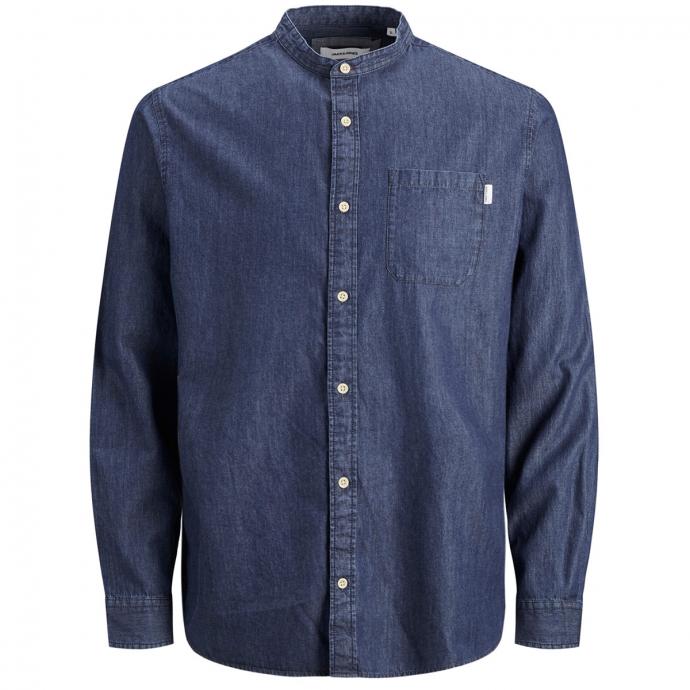Jeanshemd mit Stehkragen, langarm jeansblau_DARKBLUEDENIM | 6XL