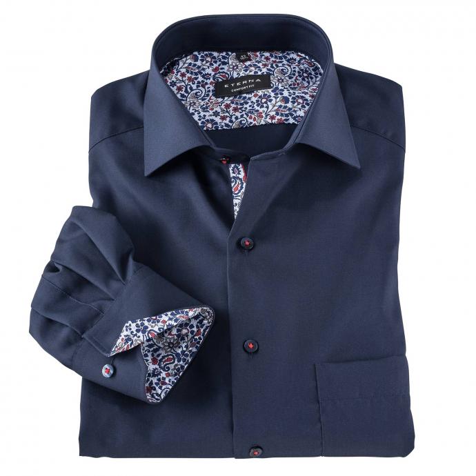 Cityhemd mit auffälligem Kontrastausputz, langarm dunkelblau_19/400   48