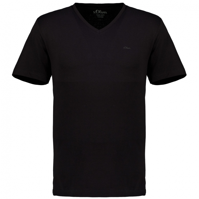 T-Shirt mit V-Ausschnitt schwarz_9999 | 3XL
