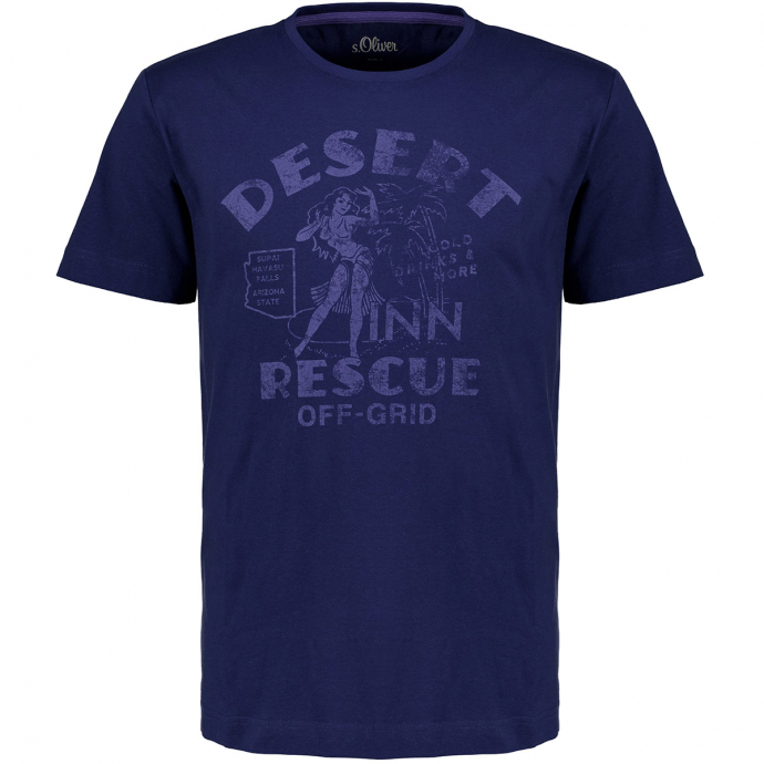 T-Shirt mit Print im Vintage-Stil blau_5693 | 3XL