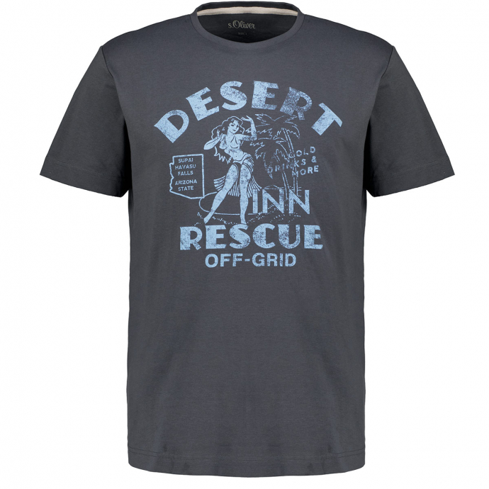 T-Shirt mit Print im Vintage-Stil grau_9588   3XL