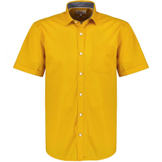 Strukturierte Baumwollhemd, kurzarm curry_1530   3XL