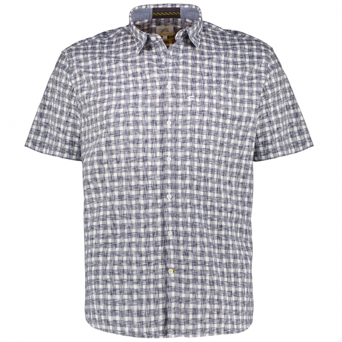 Leichtes Freizeithemd mit Karomuster, kurzarm blau/weiß_01/4020 | XXL