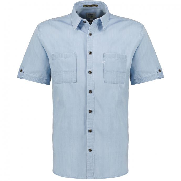 Sportliches Jeanshemd Indigo gefärbt, kurzarm hellblau_45/42 | XXL