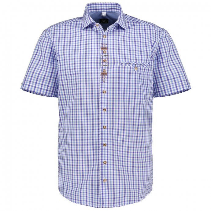Trachtenhemd im Karomuster mit Verzierungen, kurzarm blau/weiß_42/4020   3XL
