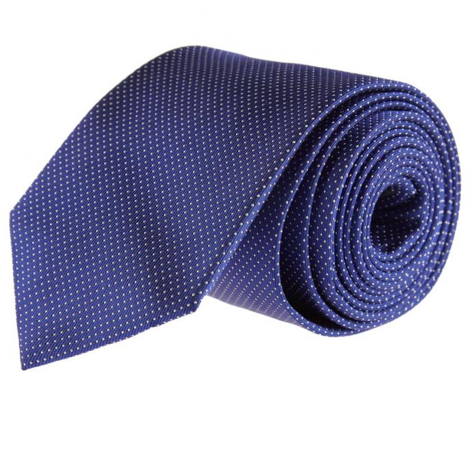 Edle Seidenkrawatte mit Punkten in Überlänge blau_14 | One Size
