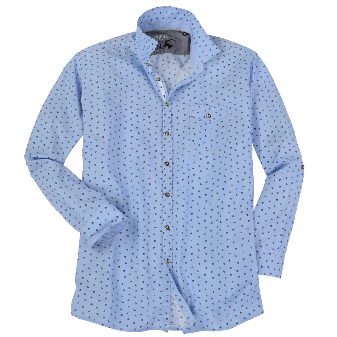 Trachtenhemd mit Brezen-Muster blau_175   XXL