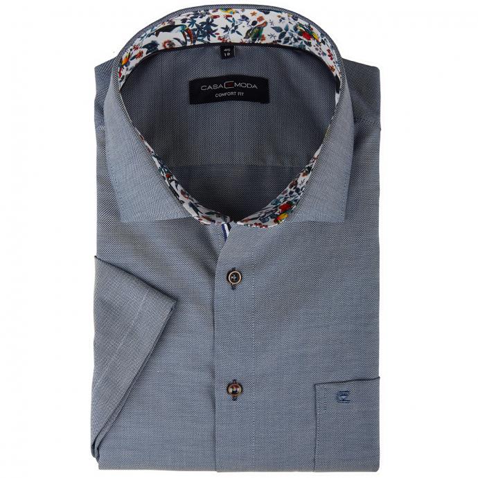 Fein strukturiertes Businesshemd mit Brusttasche, kurzarm blau_107 | 46