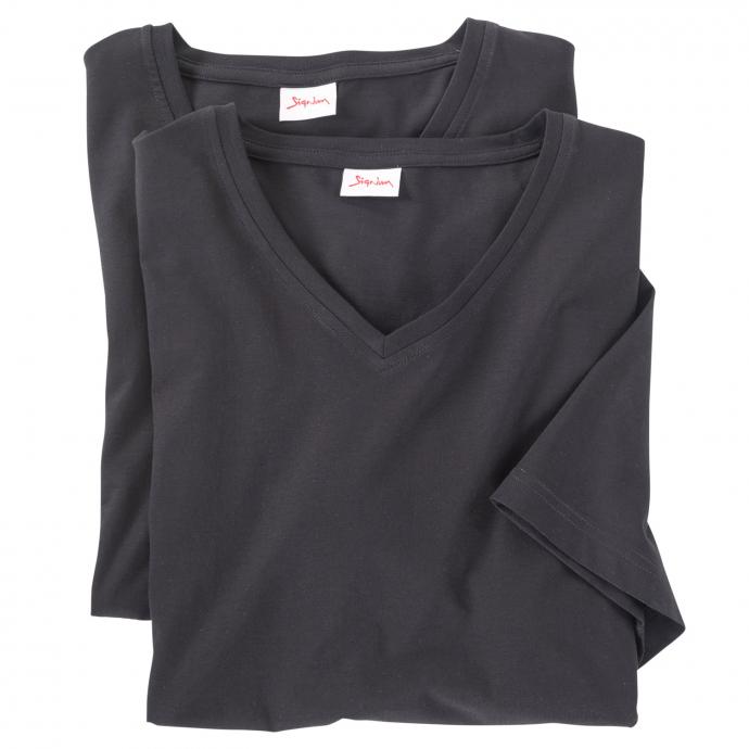 T-Shirts im Doppelpack mit V-Ausschnitt schwarz_999   3XL