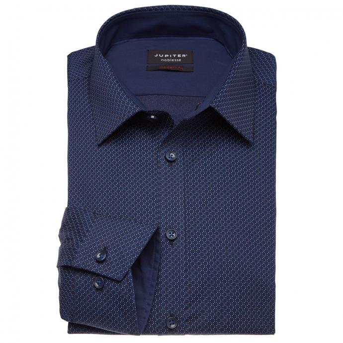 Businesshemd mit Allover-Print und langem Arm blau_176   3XL