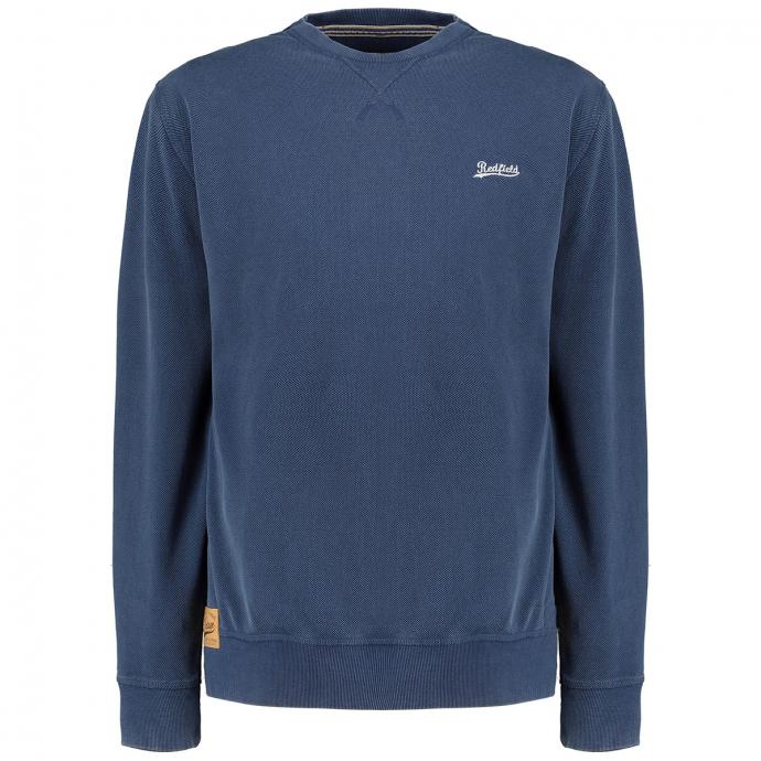 Dezent strukturiertes Sweatshirt mit Logostickerei jeansblau_189 | 4XL
