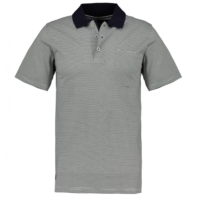 Gestreiftes Poloshirt mit Brusttasche, kurzarm weiß_16 | 3XL