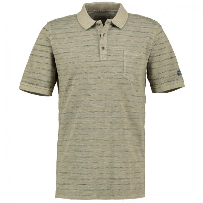 Meliertes Poloshirt mit Brusttasche, kurzarm grün_811 | 3XL