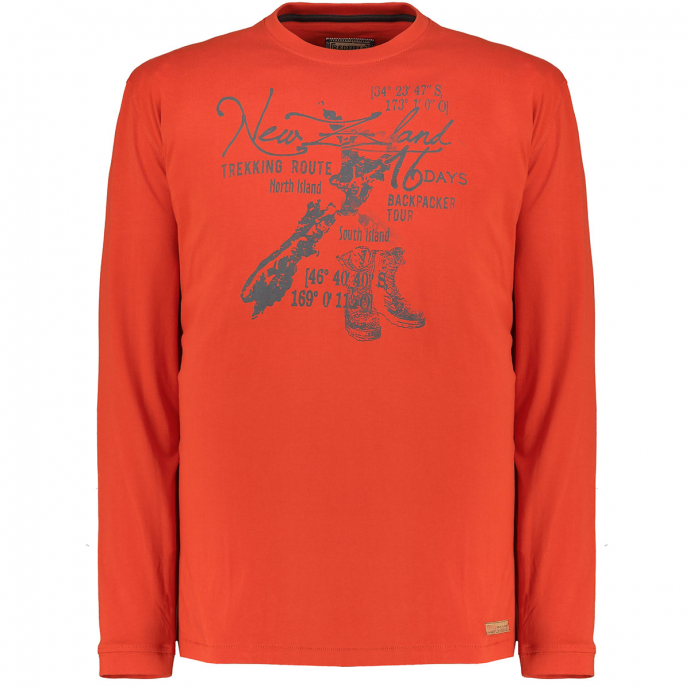 "Longsleeve aus Baumwolle mit Druck ""New Zealand"" orange_221/55 
