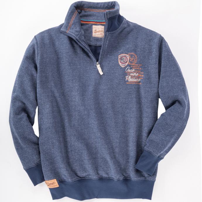 Sweatshirt mit Troyer Kragen jeansblau_189 | 5XL