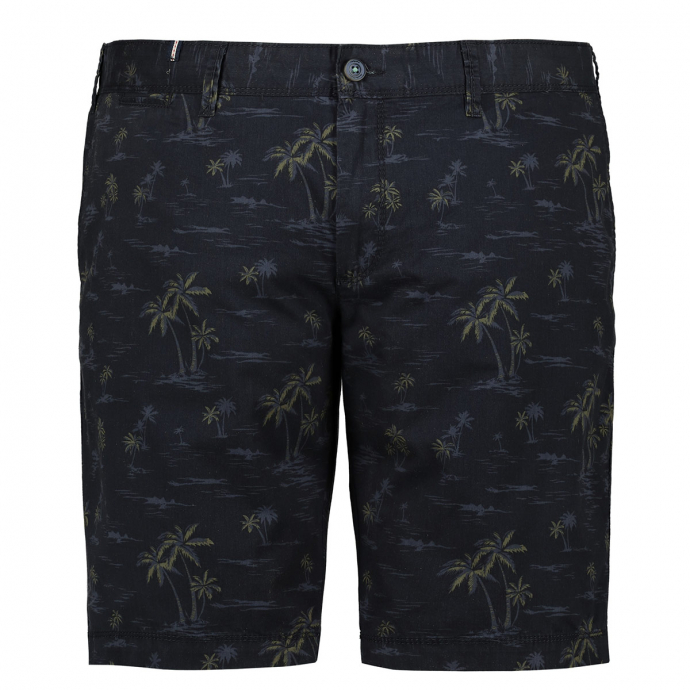 Chino-Shorts mit Palmen-Print dunkelblau_0800 | 64