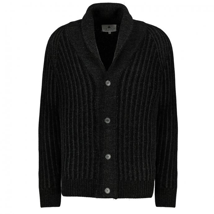 Strickjacke mit Schalkragen aus flauschigem Chenille schwarz_100 | 3XL