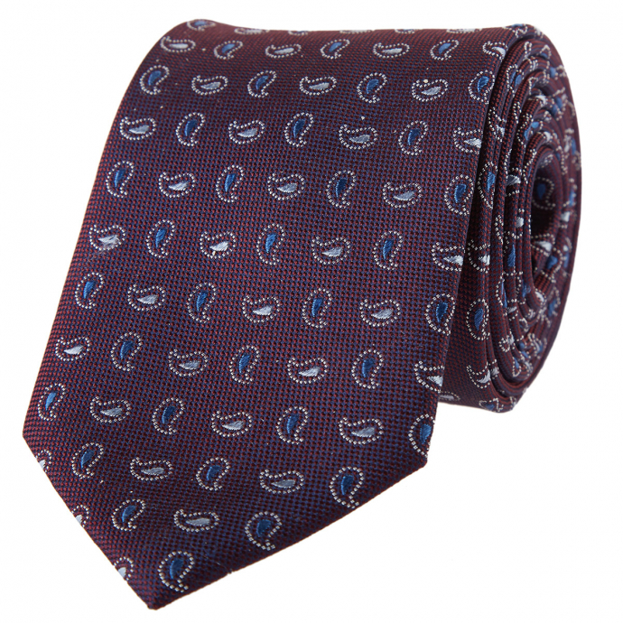 Krawatte mit feinem Paisleymuster blau/rot_3/4050 | One Size