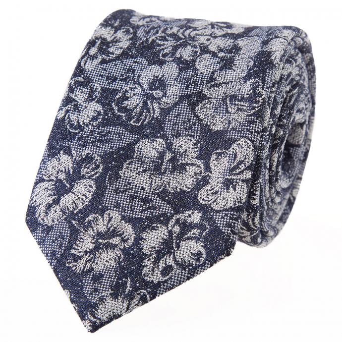 Krawatte mit floralem Mustermix blau/weiß_3/4020 | One Size
