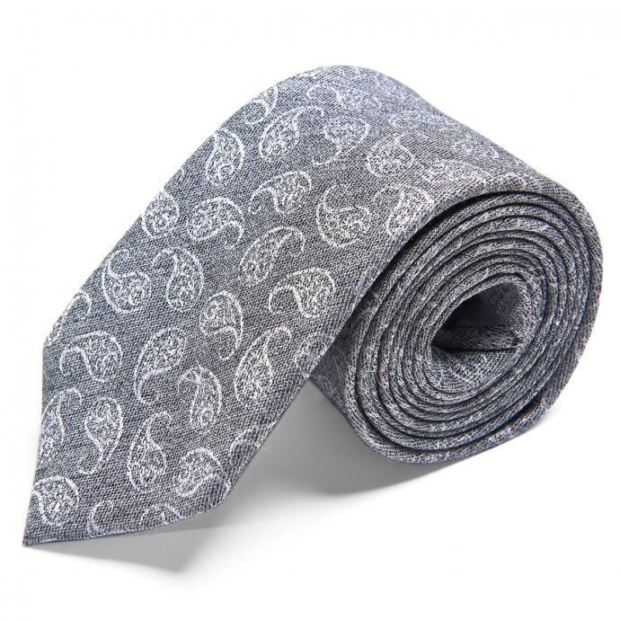 Moderne Krawatte aus Seide mit Webmuster grau_1/30 | One Size