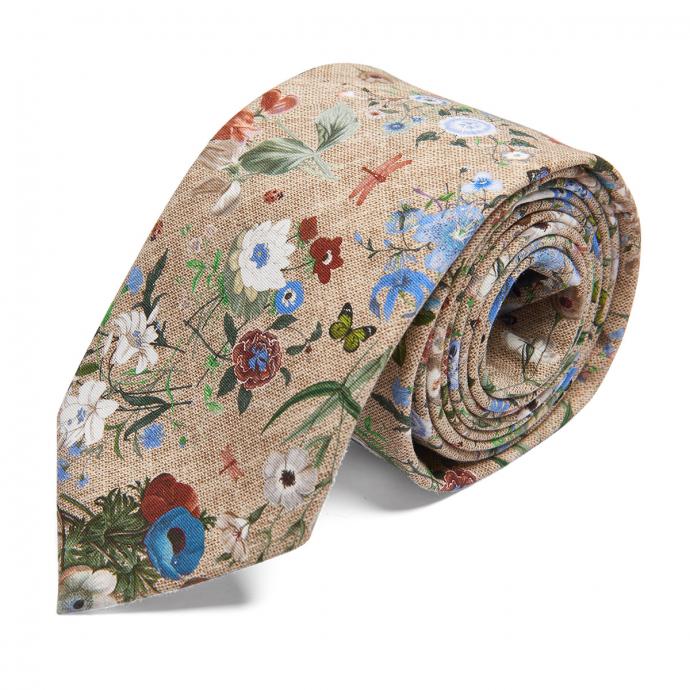 Coole Krawatte Blumen-Print beige_3/75 | One Size
