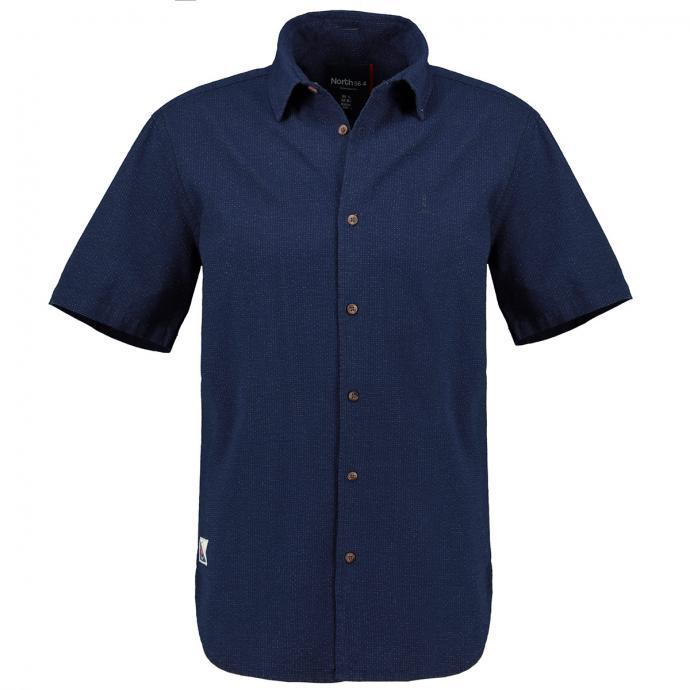 Gepunktetes Kurzarmhemd mit farbigen Schließknöpfen dunkelblau_0585 | 3XL