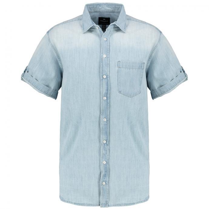Jeanshemd mit krempelbaren Ärmeln, kurzarm hellblau_0599 | 3XL