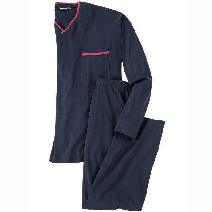 #Adamo Fashion: Langer Schlafanzug mit V-Ausschnitt, 3XL, Dunkelblau#