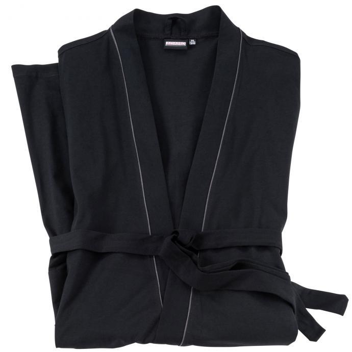 Hausmantel aus leichtem Jersey schwarz_700 | 3XL