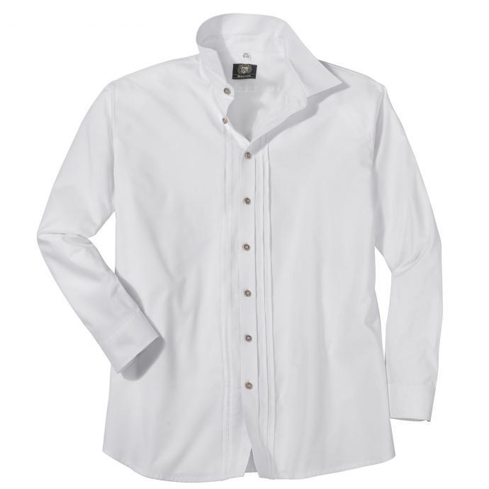 Klassisches Trachtenhemd mit Biesen, langarm weiß_01 | 3XL