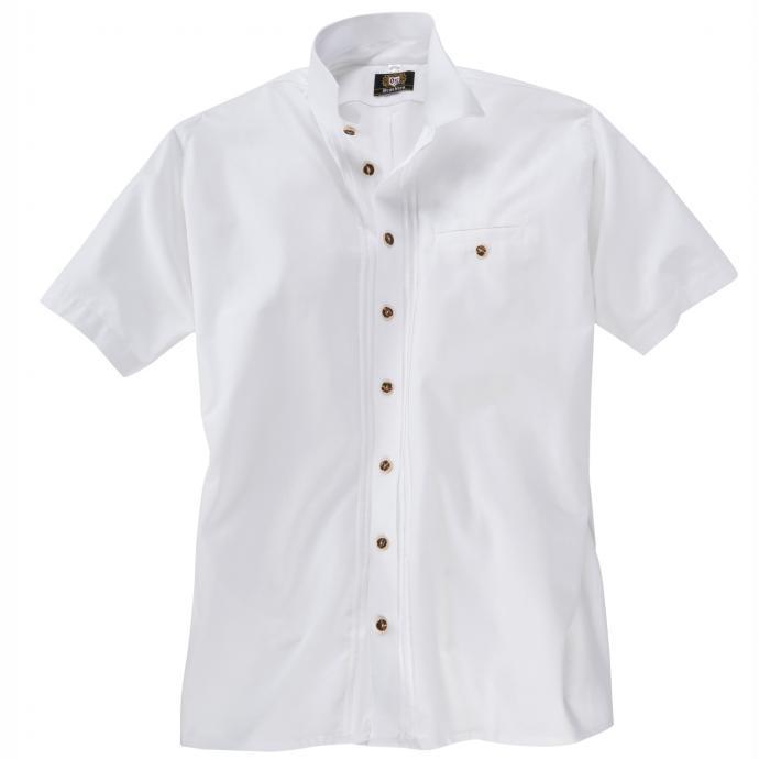 Trachtenhemd kurzarm mit Hornknöpfen weiß_01 | 3XL