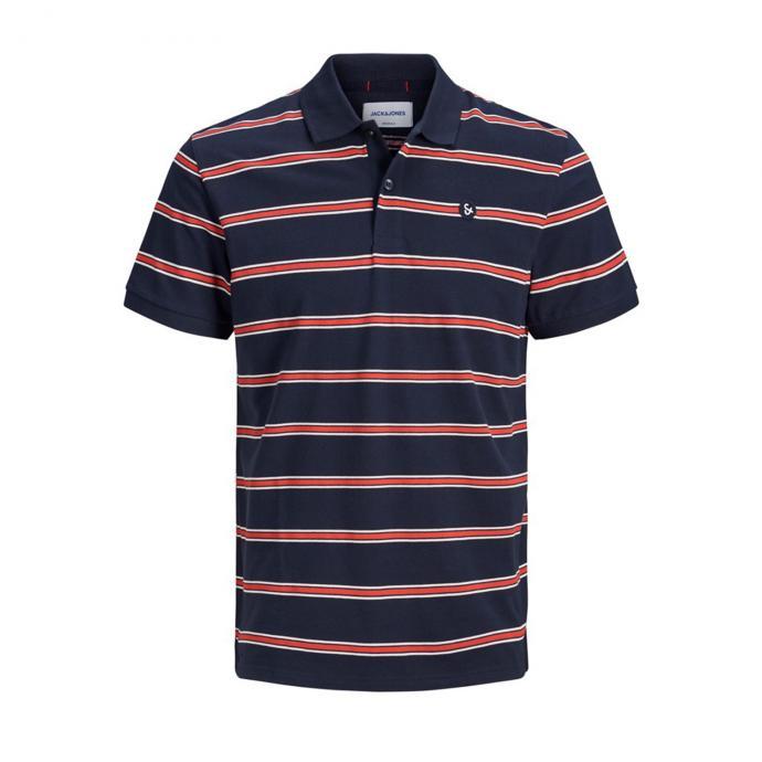 Sportliches Poloshirt mit auffälligen Streifen marine_TOTALECLIPSE | 5XL