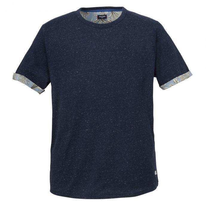 Meliertes T-Shirt mit kontrastfarbenem Ärmelaufschlag blau_NAVYBLAZER | 3XL