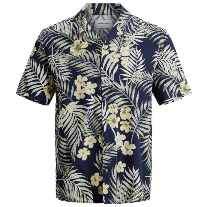 Kurzarmhemd mit auffälligem Blumenprint blau_NAVYBLAZER   3XL