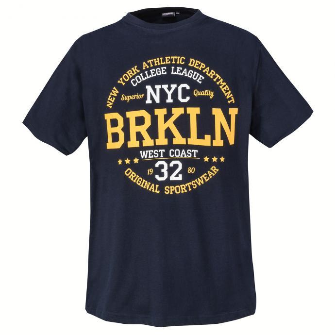 "Stylishes T-Shirt mit gummiertem ""BRKLN""-Print dunkelblau_360 | 3XL"