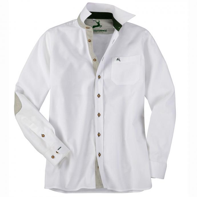 Elegantes Baumwoll-Trachtenhemd weiß_WEIß   5XL